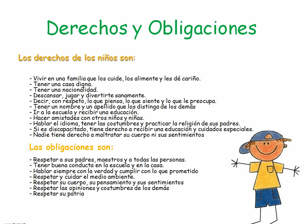 Ejemplos de Obligaciones de los Niños