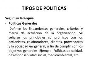 Ejemplos Políticas de una empresa